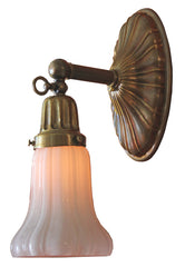 Antique Circa 1910 Sheffield Edwardian Converted Gas Wall Sconce with Antique Shade