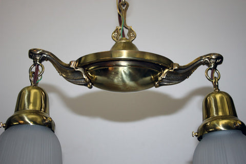 Antique Circa 1920 2 Light Neoclassical Pan - Burnished and Highlighted Finish