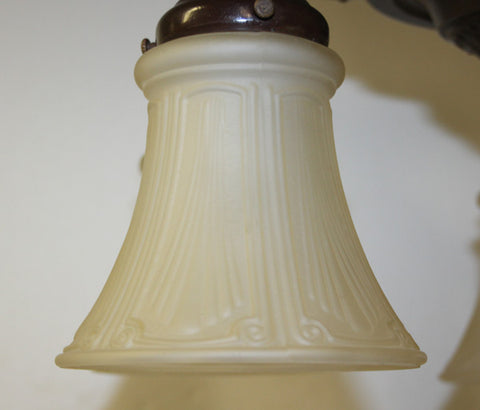 Antique Circa 1920 5 Light Flush Mount Pan Light - Brown Patina Finish