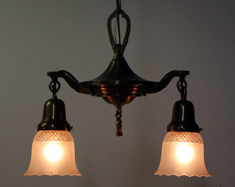 PAIR AVAILABLE - Antique Circa 1920 2 Light Pan with Stepped Center Body and Antique Frosted and Pressed Glass Shades
