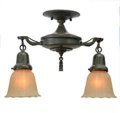 PAIR AVAILABLE - Antique Circa 1920 2 Light Flush Mount Pan Light - Verde and Wax Finish