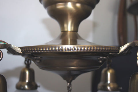 SET OF 4 AVAILABLE - Antique Circa 1915 Cast Arm Flush Mount With An Embossed Centerbody