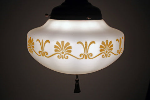 $1250 PAIR - Antique Circa 1920 Pair Of Sheffield Style Pendants With Antique Milk Glass Shades