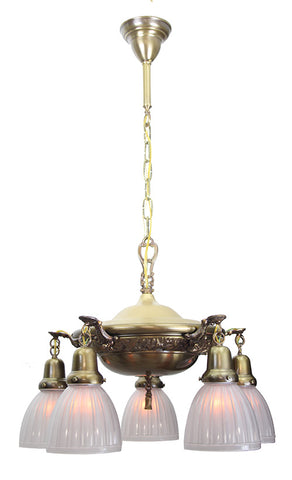 Antique Circa 1915 Embossed Pan Fixture With Floral And Wreath Border and Cast Arms - Antique Brass