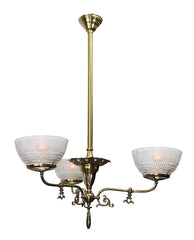 Antique C 1890-1900 Converted Gas Three Light Scroll Arm Chandelier with Original Stencil Etched Antique Shades - Burnished and Highlighted Finish