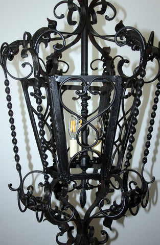 Antique Circa 1930 Wrought Iron European Lantern With Cast Scroll And Leaf Details