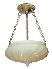 Antique Circa 1905 Vaseline Opal Tear Drop Dome On Chain Holder