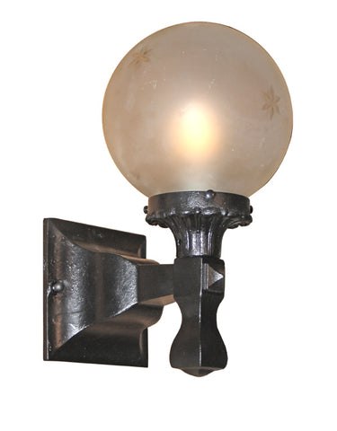 Antique Circa 1910 Cast Iron Exterior Wall Sconce With an Antique Star Cut Shade