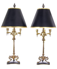 $1500 PAIR - Antique Circa 1880 Three Footed Neoclassical Candelabra Table Lamps
