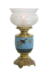 Antique Circa 1880s Converted Kerosene Eastlake Table Lamp With Acid Etched Crown Top Shade