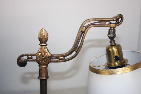 Antique Circa 1910 Arts and Crafts Bridge Arm Lamp With Hammered Details