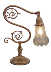 Antique Circa 1910 Edwardian Scroll Arm Desk Lamp