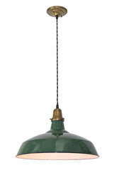 Antique Circa 1920 Green Enamel Shade on Fabric Cord Pendant