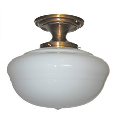 Antique Circa 1920 Flush Mount Fixture Fitted With A Schoolhouse Shade