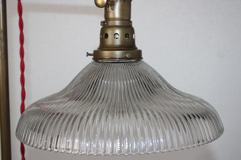 Antique Circa 1920 Industrial Work Light With An Antique Holophane Shade