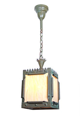 Antique Circa 1890 Arts and Crafts / Gothic Revival Copper Lantern with Slag Glass Panels