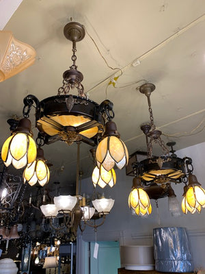 pair of antique arts and crafts lights