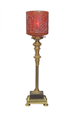 Antique Circa 1910 Petite Four Sided Table Lamp With a Stunning Antique Cylindrical Shade