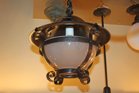 Antique Circa 1900 Arts and Crafts Exterior Ceiling Fixture With Frosted Glass