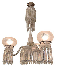 Antique Circa 1860s Converted Gasolier 3 Light Crystal Chandelier