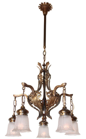 Antique Circa 1925 Five Light Tudor Revival Chandelier with Cast Crests and Sheilds