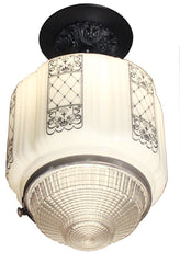 Antique Circa 1930 Single Light, Art Deco Stencil Etched Shades with Pressed Glass Prismatic bottoms