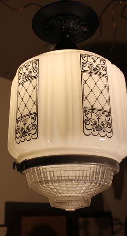 Antique Circa 1930 Single Light, Art Deco Stenciled Milk Glass Shades with Pressed Glass Prismatic bottoms