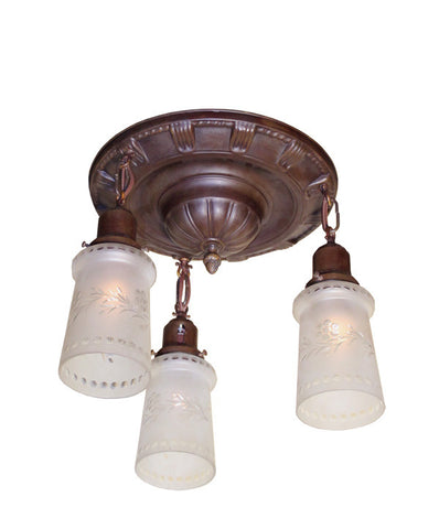 Circa 1915 Three Light, Embossed Flush Mount with Antique Wheel Cut Grape Border Shades