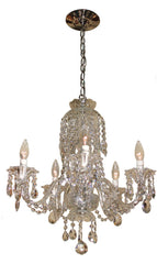 Contemporary Five Light, Crystal Venetian Chandelier with Cascading Crystal Center body.