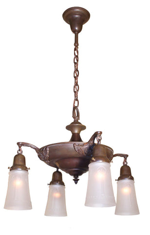 Antique Circa 1920 Four Light, Pan Fixture with Shell and Wing Arms