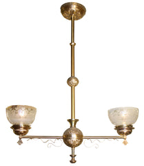 Circa 1870 Antique Alpha Brass 2 Light Gas Style Eastlake Fixture