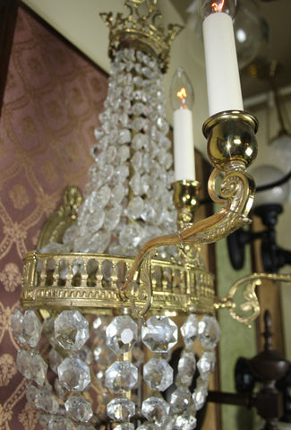 $2500 PAIR - Handmade Pair of Empire Combination Brass And Crystal Wall Sconces With Column Banding And Scroll Arms