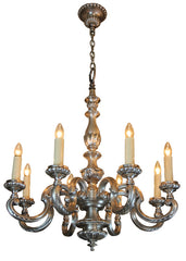 Antique Circa 1905 8 Light Beaux Arts Cast Bronze and Nickel Plated Chandelier