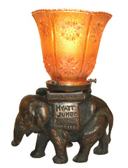 Antique Circa 1920, Single Light, Hyatt Jumbo Roofing Elephant Converted Ashtray Lamp With Carnival Glass Star Patterned Shade
