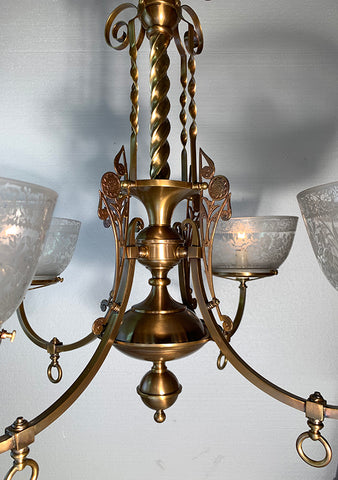 "Circa 1880s Four Light Eastlake, Aesthetic Movement Converted Gasolier with Antique 5"" Stencil Etched Shades"