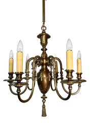 Antique Circa 1905 Beaux Arts Neoclassical Six Light Chandelier with Original Two Tone Brass Finish