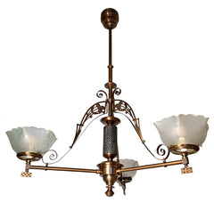 Antique Circa 1880s Bronze Eastlake Fixture with Hammered Nickel Center Body and Antique Sparrow Shades