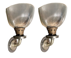 $700 Pair - Circa 1930s Industrial Wall Sconces with Vented Holophane Shades