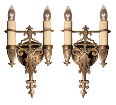 $750 Pair - Circa 1920s Bronze Tudor Revival Double Light Wall Sconces