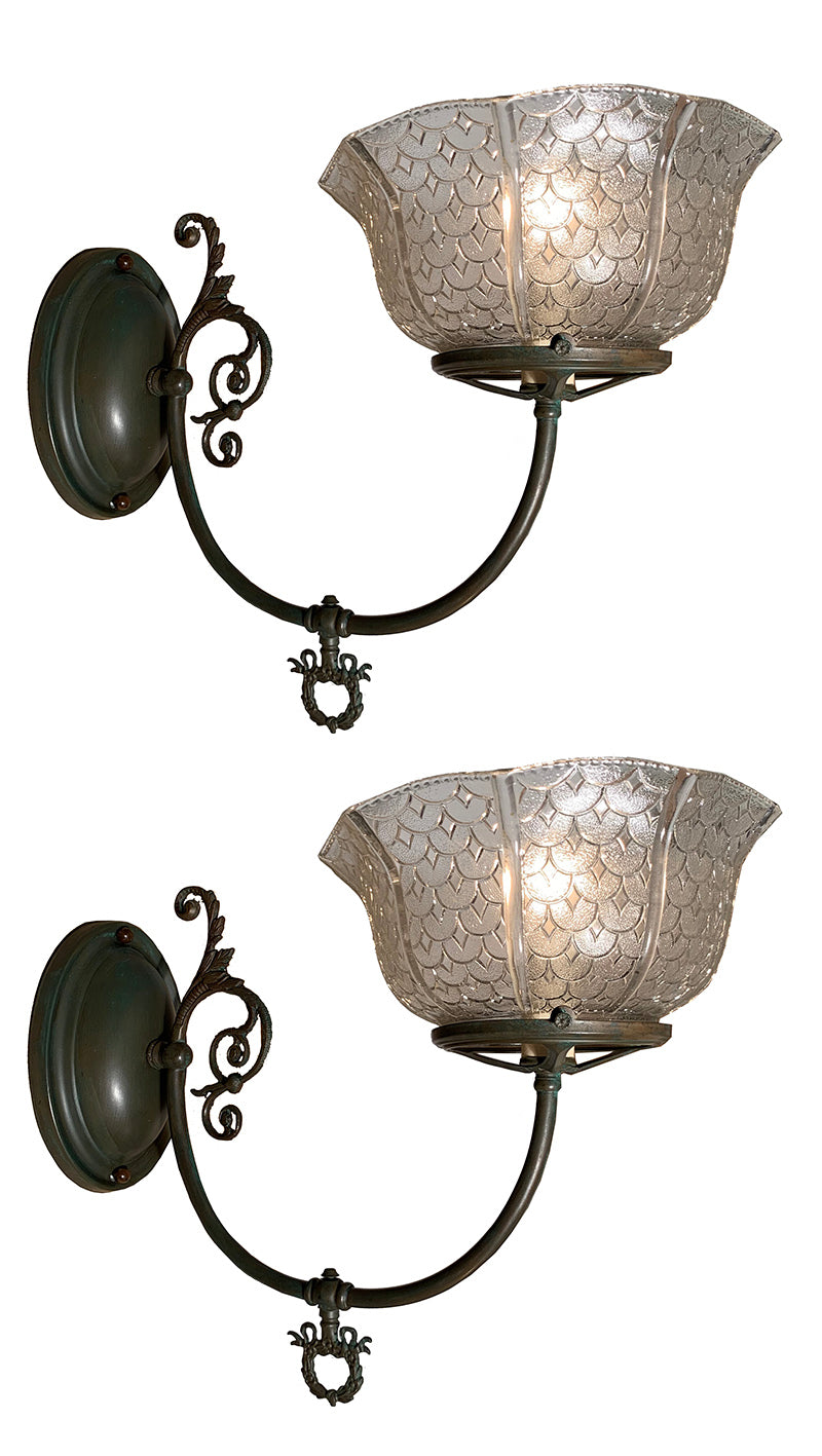 $850 PAIR - Pair of Circa 1890s Converted Gas Late Victorian Scroll Arm Wall Sconces