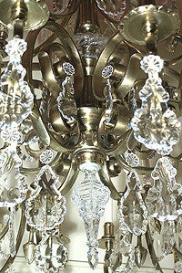 Grand Grecian Revival Circa 1860 Converted Gas 18 Light Chandelier with Crystals
