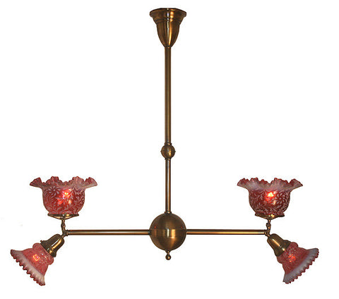 Commerical Antique Circa 1900 Four Light Gas Electric Fixture