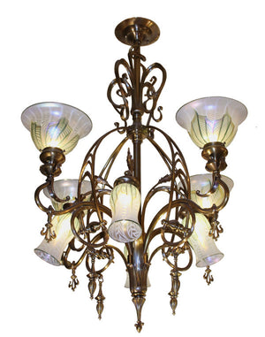 Oustanding Antique Art Nouveau Circa 1900 8 Light Gas Electric Chandelier