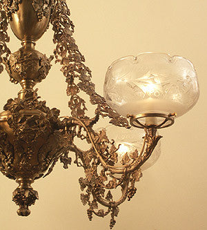 Museum Quality Antique Circa 1850 4 Light Fox and Grapes Converted Gasolier Attributed to Cornelius