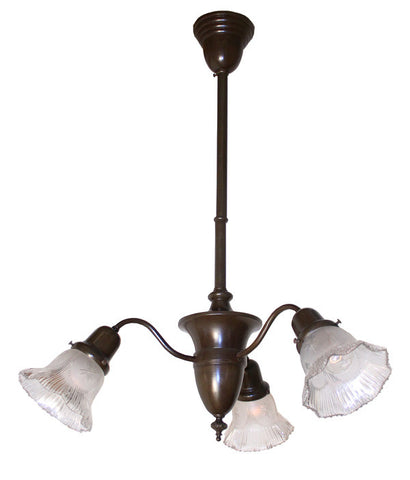 Antique Circa 1910 3 Light Early Electric Fixture with Urn Center Body