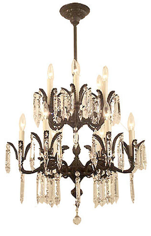 Antique Circa 1930 Spanish Cast Brass and Crystal 2 teired 12 Light Chandelier