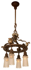 Outstanding Circa 1905-1910 Beaux Arts Cast Brass and Acanthus 4 Light Chandelier with Original Antique Cut Shades.