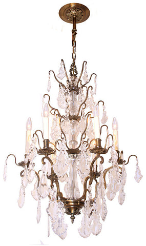 Antique French Crystal and Brass Circa 1920 6 Light Chandelier