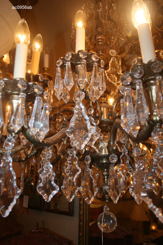 Elaborate Antique Circa 1930 20 Light 2 Tiered European Cast Brass and Crystal Chandelier
