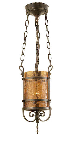 Antique Circa 1920 Tudor Revival Wrought Iron Lantern with Original Amber Crackle Glass Cylinder